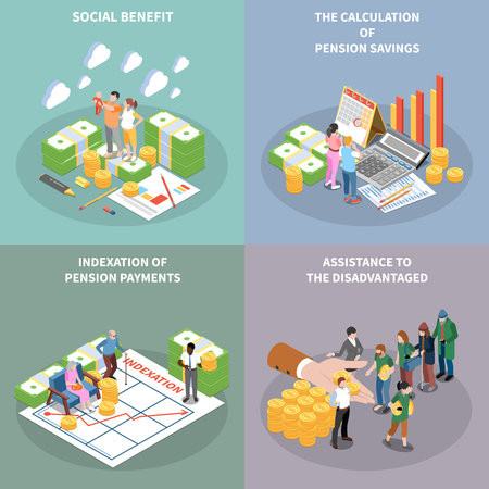 Social security unemployment benefits unconditional income isometric 2x2 design concept with banknote bundles people and text vector illustration