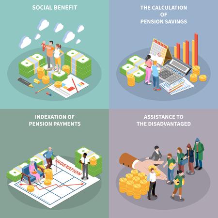 Sociale zekerheid werkloosheidsuitkeringen onvoorwaardelijk inkomen isometrische 2x2 ontwerpconcept met bankbiljet bundels mensen en tekst vectorillustratie