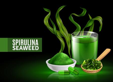 Affiche de fond noir vert coloré de supplément d'algue de spiruline avec des capsules de poudre séchée boivent une illustration vectorielle de composition réaliste