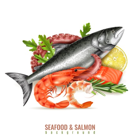Seafood cocktail ingredients realistic composition with whole fresh salmon fish shrimps octopus tentacle lemon herbs vector illustration