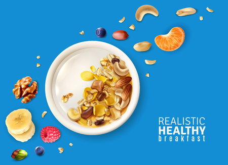 Muesli healthy breakfast plate top view realistic composition with banana mandarin nuts berries color background vector illustration