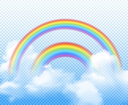 Double rainbow from different semi circles with white clouds realistic composition on transparent background vector illustration