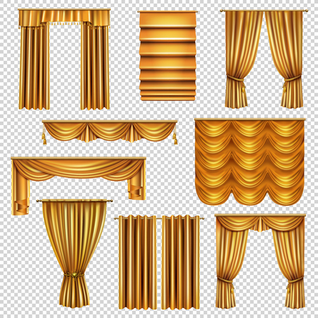 Set of realistic luxury curtains of gold fabric on cornices isolated on transparent background vector illustration Vetores