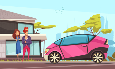 Modern ground transportation young couple near house and pink car parked on street cartoon vector illustration