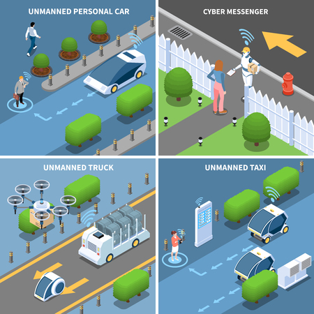 Autonomous car driverless vehicle robotic transport isometric 2x2 design concept with futuristic cars drones and people vector illustration