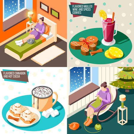 Cozy winter 2x2 design concept set of flavored mulled wine spiced cookies flavored cinnamon hot cocoa as items for warming up isometric vector illustration Illustration