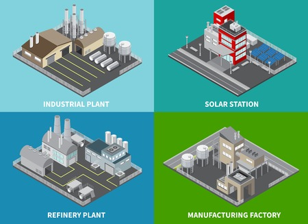 Industrial buildings concept icons set with refinery plant and solar station isometric isolated vector illustration