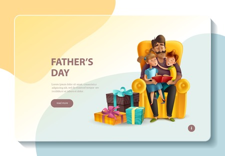Fathers day celebration ideas stories presents online website design with dad hugging kids banner concept vector illustration