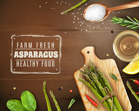 Farm fresh asparagus healthy food realistic dark wood background with cutting board basil chili pepper vector illustration