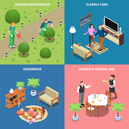 Home staff isometric people 2x2 design concept with text house workers and multi purpose domestic assistants vector illustration