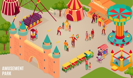 Amusement park with circus artists and visitors carousel bouncy castle and shooting gallery isometric horizontal vector illustration
