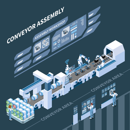 Intelligent manufacturing isometric composition with holographic control panel of assembly conveyor on dark background vector illustration