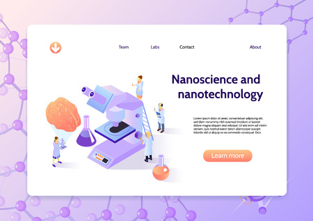 Horizontal isometric nanotechnology concept banner with nanoscience and nanotechnology headline and learn more button vector illustration