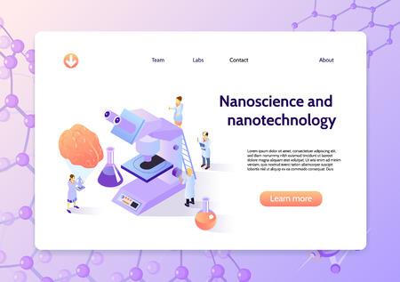 Horizontales isometrisches Nanotechnologie-Konzeptbanner mit Nanowissenschaft und Nanotechnologie-Schlagzeile und weitere Schaltflächenvektorillustration