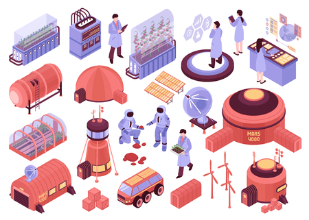 Isometric mars colonization set of isolated images with base station buildings people characters and scientific facilities vector illustration