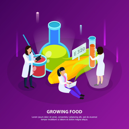 Artificial nutrition products isometric composition with scientists during growing of food on purple background vector illustration