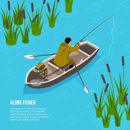 Alone fisher with spinning rod in boat on blue water background with reeds  isometric vector illustration Иллюстрация
