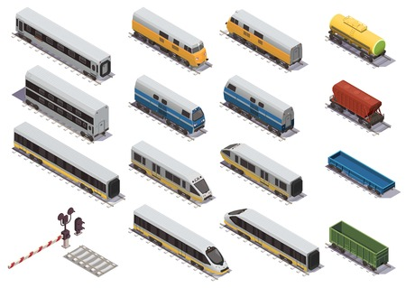 Railway train isometric elements set with electric locomotive open freight wagon and passenger car isometric vector illustration Illustration