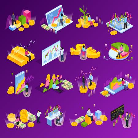 L'icona isometrica di borsa valori ha messo con i grafici differenti dei grafici di finanza degli elementi la tecnologia nell'illustrazione di vettore del commercio Vettoriali