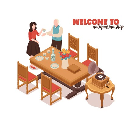 Welcome to antiquarian shop white background with buyer seller and antique home furnishings isometric vector illustration