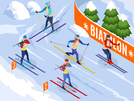 Winter sports isometric background illustrated athletes on ski participating in biathlon competitions vector illustration Иллюстрация