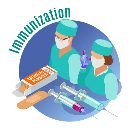Vaccination isometric round emblem with medical tools two doctors and immunization description vector illustration 向量圖像