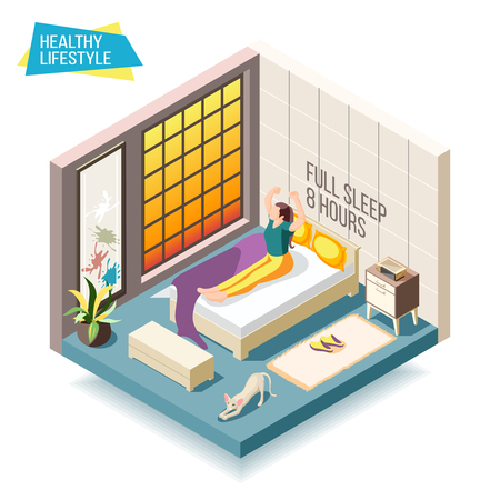 Healthy lifestyle isometric composition with woman waking up after eight hours of sleep vector illustration