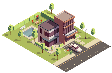 Suburbian buildings isometric composition with above view of private residential building with car and backyard pool vector illustration