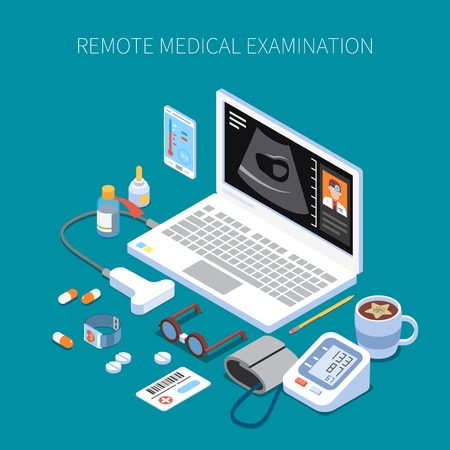 Remote medical examination isometric composition with human organ ultrasound on laptop screen and medicine devices vector illustration