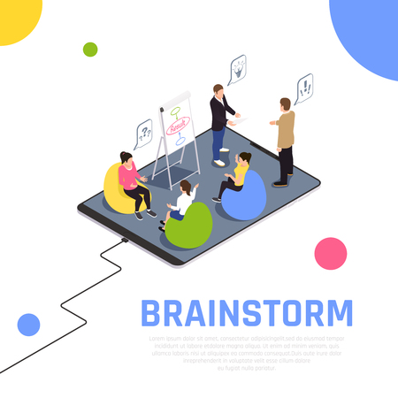 Brainstorming teamwork technique gets team members working together solves problems creates new ideas isometric composition vector illustration