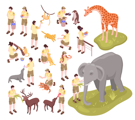 Isometric zoo workers set of isolated human characters of zoo keepers and animals on blank background vector illustration