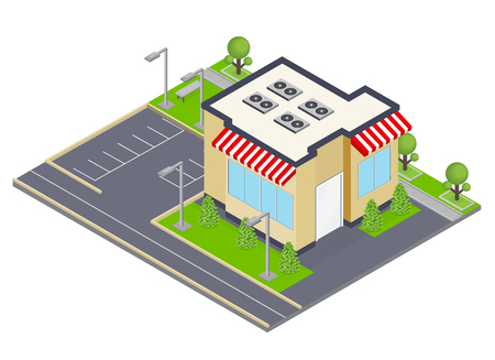 Commercial building isometric concept with windows and parking symbols  vector illustration Illustration