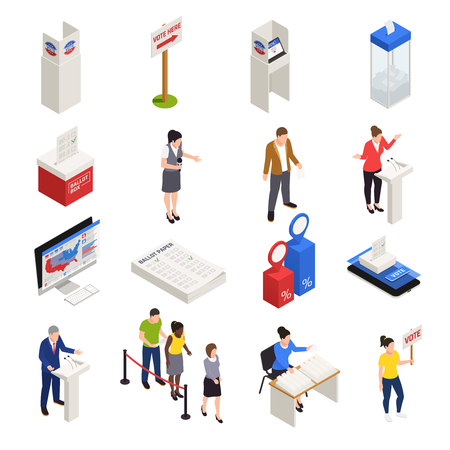 Elections and voting icons set isometric isolated vector illustration