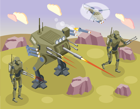 Military robots isometric background with fighting soldiers and androids on battlefield vector illustration