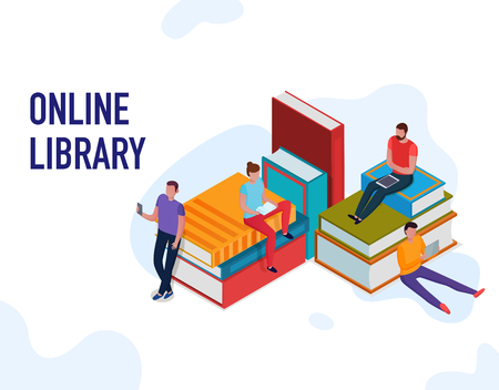 People reading books and using online library 3d isometric vector illustration Illustration