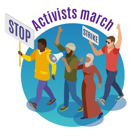 Activists march round design concept with group of of protesters holding placards and megaphone isometric vector illustration