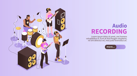 Audio recording horizontal banner with music band playing in recording studio room using musical instruments isometric vector illustration
