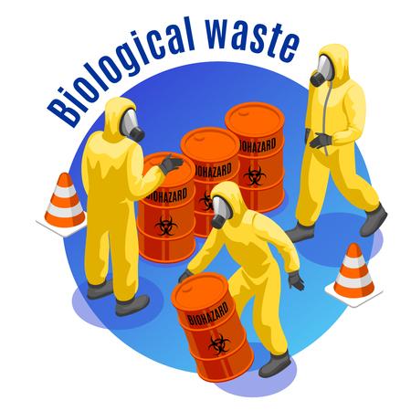 Composition de fond rond isométrique de déchets toxiques avec illustration vectorielle de matériel médical biologique et infectieux dangereux