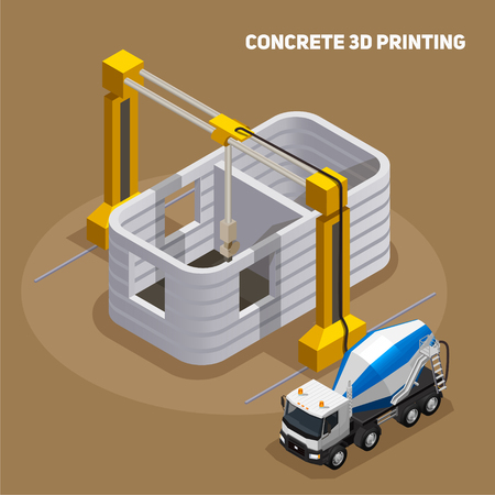 Concrete production isometric composition with view of 3d printed building under construction with cement mixing truck vector illustration Banque d'images - 126353351