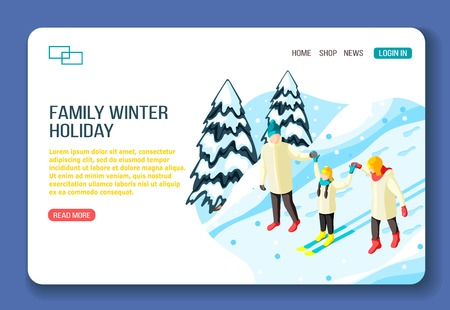 Family parents and kid on ski during walking in winter holidays isometric web landing page vector illustration