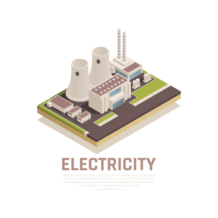 Electricity concept with plant building and industry symbols isometric vector illustration