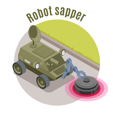 Military robots isometric emblem with robot sapper headline and green military machine vector illustration