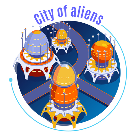 Round isometric aliens composition with city of aliens descriptions and different strange unusual buildings vector illustration