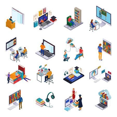 Isometric icons set with people and various devices for reading and studying in online library 3d isolated vector illustration