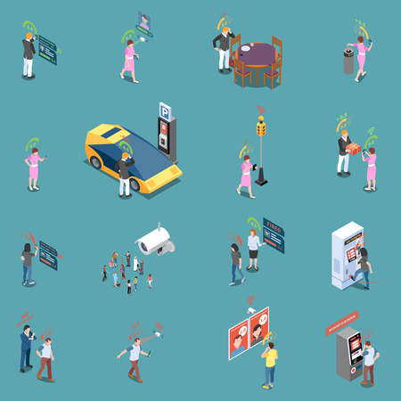 Social credit score system isometric icons collection with isolated items and human characters in different situations vector illustration