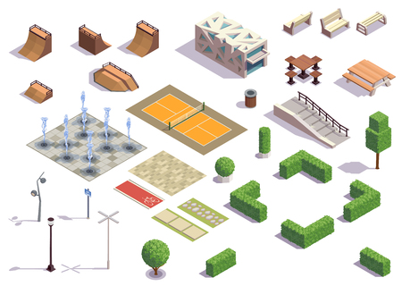 Modern city park isometric set with recreation skateboarding cycling tennis facilities benches lanterns fountains  plants vector illustration