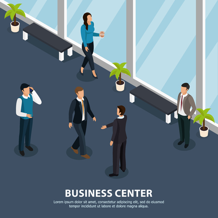 People during various activity in hallway of business center isometric vector illustration