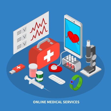 Mobile medicine isometric concept with medical equipment symbols  vector illustration Illustration