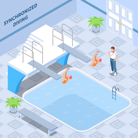 Trainer and girls athletes in red swim suits during synchronized diving workout isometric composition vector illustration