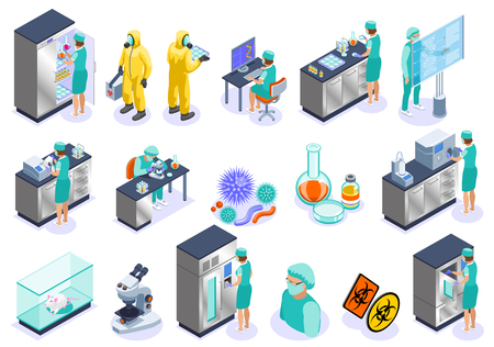 Microbiology isolated isometric icon set with science employers microscope laboratory and biochemistry vector illustration